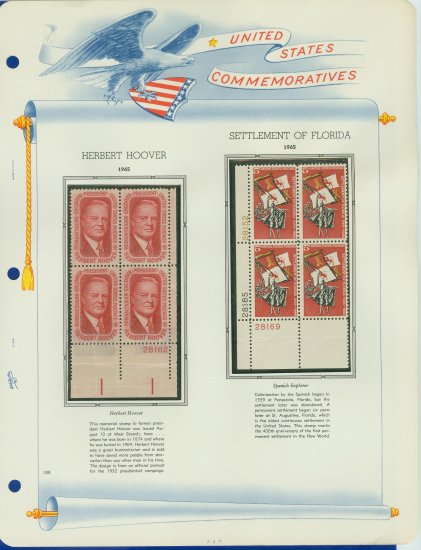 1965 USA MNH Scott# 1269, 1270 Plate #�d Blocks of 4 Stamps mounted on a White Ace Page � E2703
