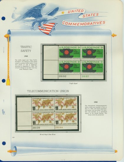 1965 USA MNH Scott# 1272, 1274 Plate #�d Blocks of 4 Stamps mounted on a White Ace Page � E2703
