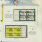 1966 USA MNH Scott# 1310, 1314 Plate #'d Blocks of 4 Stamps mounted on a White Ace Page – E2703