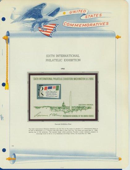 1966 USA MNH Sc# 1311 SIPEX Souvenir Sheet mounted on a WA Pg �Souvenir Sht� E2703