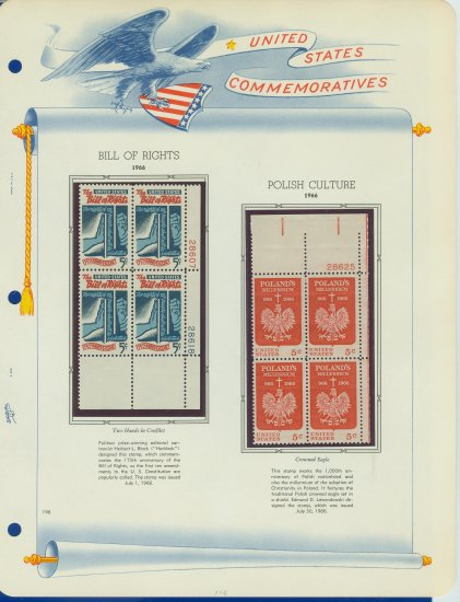 1966 USA MNH Scott# 1312, 1313 Plate #�d Blocks of 4 Stamps mounted on a White Ace Page � E2703