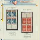 1966 USA MNH Scott# 1312, 1313 Plate #'d Blocks of 4 Stamps mounted on a White Ace Page – E2703