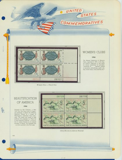 1966 USA MNH Scott# 1316, 1318 Plate #�d Blocks of 4 Stamps mounted on a White Ace Page � E2703