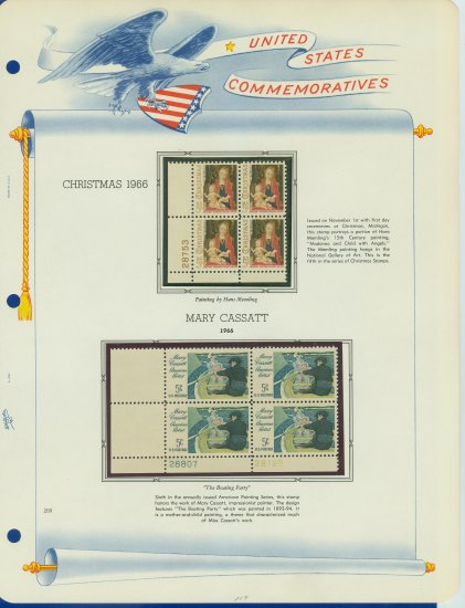 1966 USA MNH Scott# 1321, 1322 Plate #�d Blocks of 4 Stamps mounted on a White Ace Page � E2703