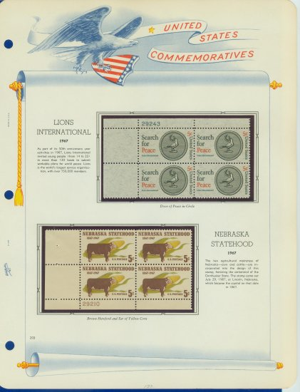 1967 USA MNH Scott# 1326, 1328 Plate #�d Blocks of 4 Stamps mounted on a White Ace Page � E2703