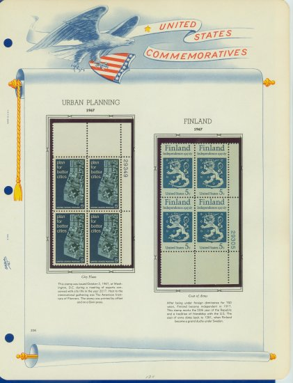 1967 USA MNH Scott# 1333, 1334 Plate #�d Blocks of 4 Stamps mounted on a White Ace Page � E2703