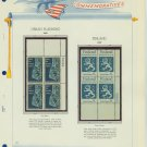 1967 USA MNH Scott# 1333, 1334 Plate #'d Blocks of 4 Stamps mounted on a White Ace Page – E2703