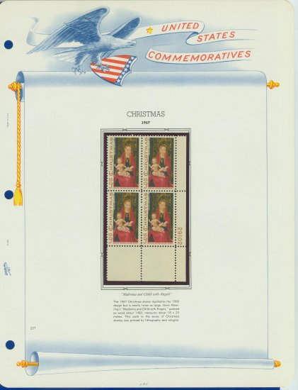1967 USA MNH Sc# 1336 Plt #�d Blk of 4 Stamps mounted on a WA Pg � Christmas � E2703