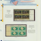 1967 USA MNH Scott# 1335, 1337 Plate #'d Blocks of 4 Stamps mounted on a White Ace Page – E2703