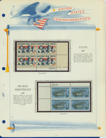 1968 USA MNH Scott# 1342, C74 Plate #�d Blocks of 4 Stamps mounted on a White Ace Page � E2703