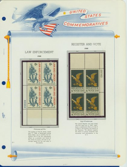 1968 USA MNH Scott# 1343, 1344 Plate #�d Blocks of 4 Stamps mounted on a White Ace Page � E2703