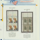 1968 USA MNH Scott# 1355, 1359 Plate #'d Blocks of 4 Stamps mounted on a White Ace Page – E2703