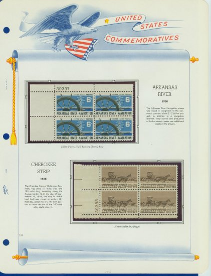 1968 USA MNH Scott# 1358, 1360 Plate #�d Blocks of 4 Stamps mounted on a White Ace Page � E2703