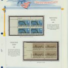 1968 USA MNH Scott# 1358, 1360 Plate #'d Blocks of 4 Stamps mounted on a White Ace Page – E2703