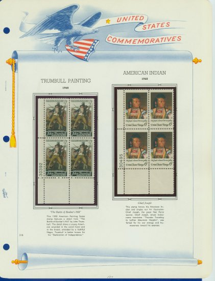 1968 USA MNH Scott# 1361, 1364 Plate #�d Blocks of 4 Stamps mounted on a White Ace Page � E2703