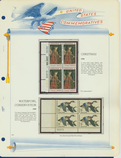 1968 USA MNH Scott# 1362, 1363 Plate #�d Blocks of 4 Stamps mounted on a White Ace Page � E2703