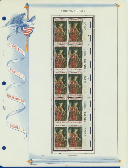 1968 USA MNH Sc# 1363 Plate #�d Block of 10 Stamps mounted on a WA Pg � Christmas � E2703