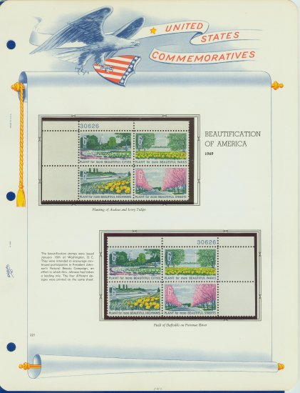 1969 USA MNH Scott# 1365 - 1368 Plate #�d Blocks of 4 Stamps mounted on White Ace Pages � E2703