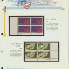 1969 USA MNH Scott# 1372, 1374 Plate #'d Blocks of 4 Stamps mounted on a White Ace Page – E2703
