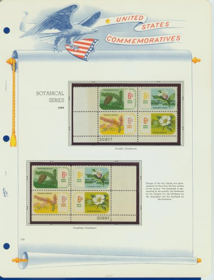 1969 USA MNH Scott# 1376 - 1379 Plate #�d Blocks of 4 Stamps mounted on White Ace Pages � E2703