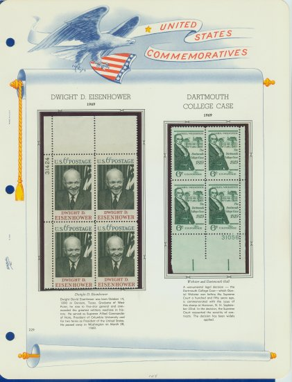 1969 USA MNH Scott# 1380, 1383 Plate #�d Blocks of 4 Stamps mounted on a White Ace Page � E2703