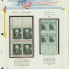 1969 USA MNH Scott# 1380, 1383 Plate #'d Blocks of 4 Stamps mounted on a White Ace Page – E2703