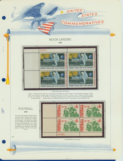 1969 USA MNH Scott# 1382, C76 Plate #�d Blocks of 4 Stamps mounted on a White Ace Page � E2703