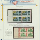 1969 USA MNH Scott# 1382, C76 Plate #'d Blocks of 4 Stamps mounted on a White Ace Page – E2703