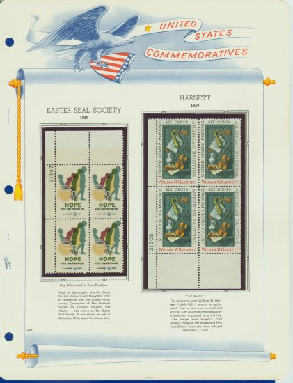 1969 USA MNH Scott# 1385, 1386 Plate #�d Blocks of 4 Stamps mounted on a White Ace Page � E2703