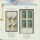 1969 USA MNH Scott# 1385, 1386 Plate #'d Blocks of 4 Stamps mounted on a White Ace Page – E2703