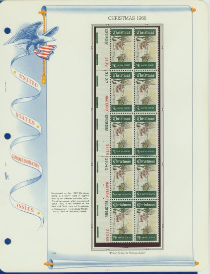 1969 USA MNH Sc# 1384 Plate #�d Block of 10 Stamps mounted on a WA Pg � Christmas � E2703