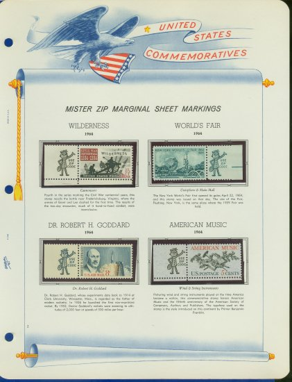 1964 USA MNH Scott# 1181, 1244,52, C69 - Mr. Zip Stamps mounted on a White Ace Page - E2703