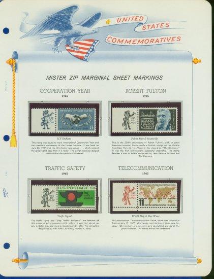 1965 USA MNH Scott# 1266, 70, 72, 74 - Mr. Zip Stamps mounted on a White Ace Page - E2703