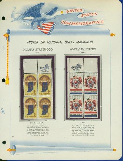 1966 USA MNH Scott# 1308 - 9 - Mr. Zip Blocks of 4 Stamps mounted on a White Ace Page - E2703