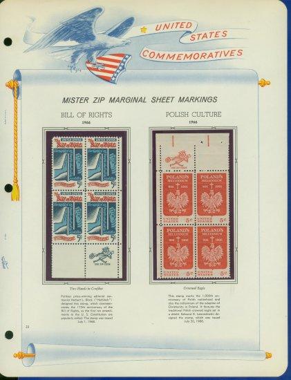 1966 USA MNH Scott# 1312, 13 - Mr. Zip Blocks of 4 Stamps mounted on a White Ace Page - E2703