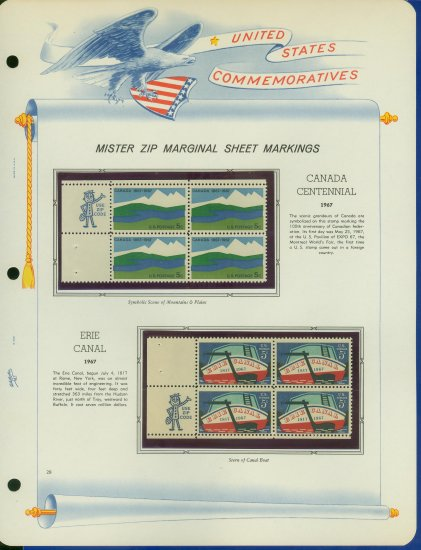 1967 USA MNH Scott# 1324, 25 - Mr. Zip Blocks of 4 Stamps mounted on a White Ace Page - E2703