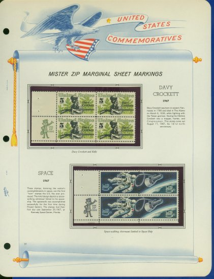 1967 USA MNH Scott# 1330 - 32 - Mr. Zip Blocks of 4 Stamps mounted on a White Ace Page - E2703