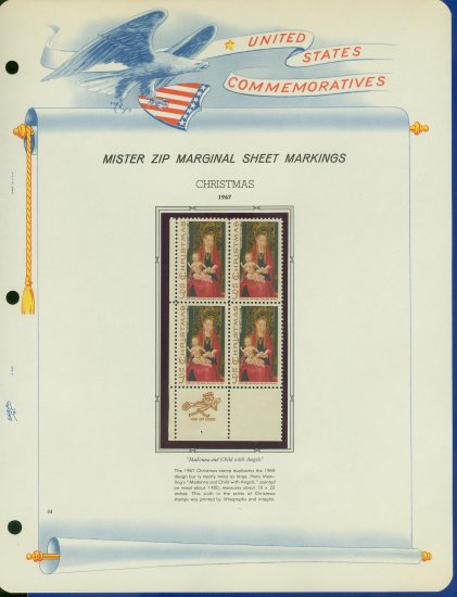 1967 USA MNH Scott# 1336 - Mr. Zip Block of 4 Stamps mounted on a White Ace Page - E2703