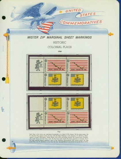 1968 USA MNH Scott# 1353, 54 - Mr. Zip Blocks of 4 Stamps mounted on a White Ace Page - E2703