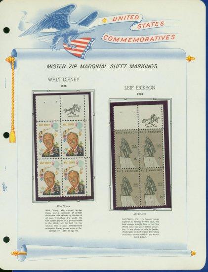 1968 USA MNH Scott# 1355, 59 - Mr. Zip Blocks of 4 Stamps mounted on a White Ace Page - E2703