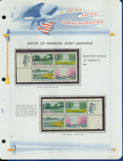 1969 USA MNH Scott# 1365 - 68 - Mr. Zip Blocks of 4 Stamps mounted on a White Ace Page - E2703
