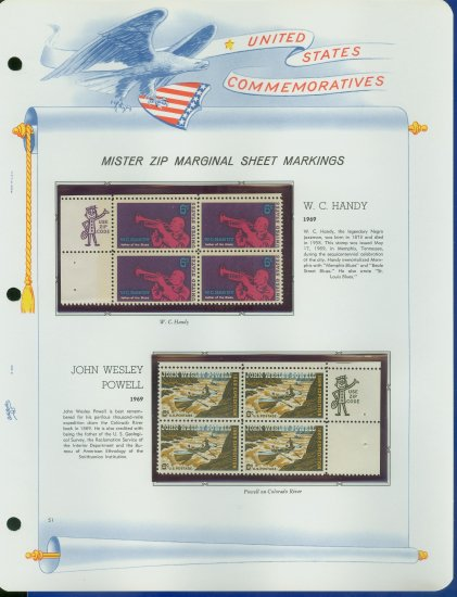 1969 USA MNH Scott# 1372, 74 - Mr. Zip Blocks of 4 Stamps mounted on a White Ace Page - E2703