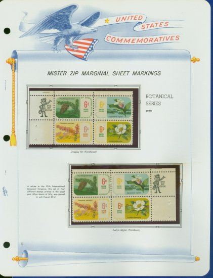 1969 USA MNH Scott# 1376 - 79 - Mr. Zip Blocks of 4 Stamps mounted on a White Ace Page - E2703