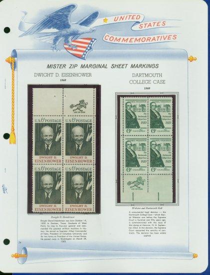 1969 USA MNH Scott# 1380, 83 - Mr. Zip Blocks of 4 Stamps mounted on a White Ace Page - E2703