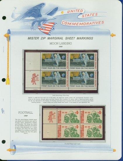 1969 USA MNH Scott# 1382, C76 - Mr. Zip Blocks of 4 Stamps mounted on a White Ace Page - E2703