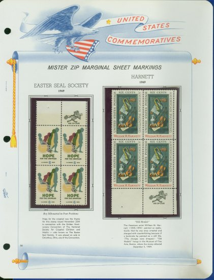 1969 USA MNH Scott# 1385, 86 - Mr. Zip Blocks of 4 Stamps mounted on a White Ace Page - E2703
