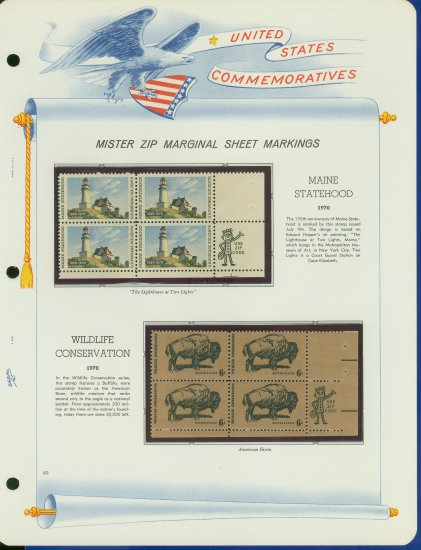 1969 USA MNH Scott# 1391, 92 - Mr. Zip Blocks of 4 Stamps mounted on a White Ace Page - E2703