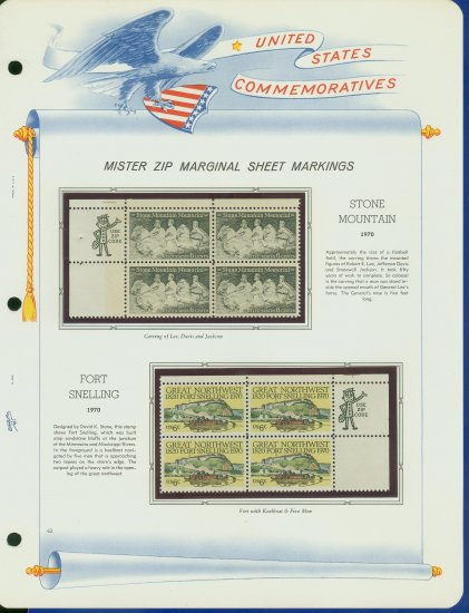 1970 USA MNH Scott# 1408, 9 - Mr. Zip Blocks of 4 Stamps mounted on a White Ace Page - E2703