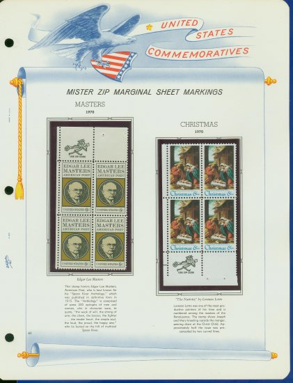 1970 USA MNH Scott# 1405, 14 - Mr. Zip Blocks of 4 Stamps mounted on a White Ace Page - E2703