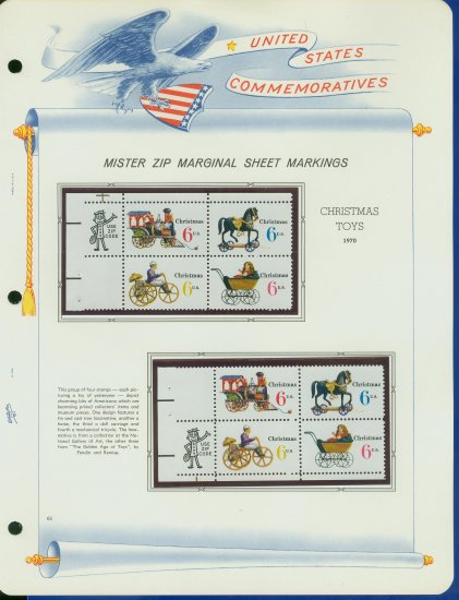 1970 USA MNH Sc# 1415 - 18 - Mr. Zip Blks of 4 Stamps mounted on WA Pgs � Christmas -E2703